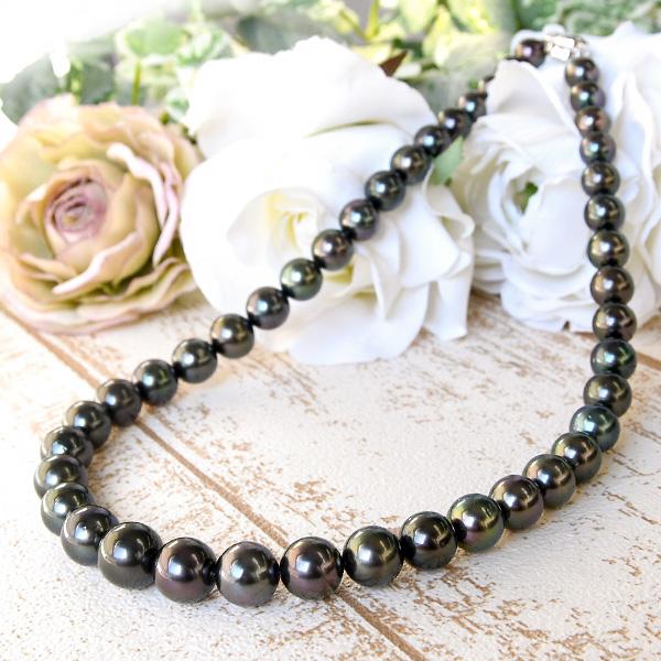 11mm ラウンド 黒蝶真珠 ネックレス  華やかに輝く品格のブラック!