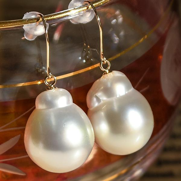 13mm ドロップ 白蝶真珠 ピアス/イヤリング ナチュラルカラー てり良しの特大パールがお手頃価格! 現品限り