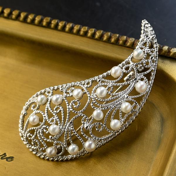 淡水真珠 ブローチ 可憐で華やかなベビーパール KA60 受注生産品 年末年始大決算 レースのような透かし細工が繊細 EP-990