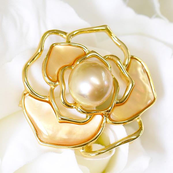 12mm ゴールド 白蝶真珠 ローズ ブローチペンダント 華やかな輝きをもった大珠南洋真珠!