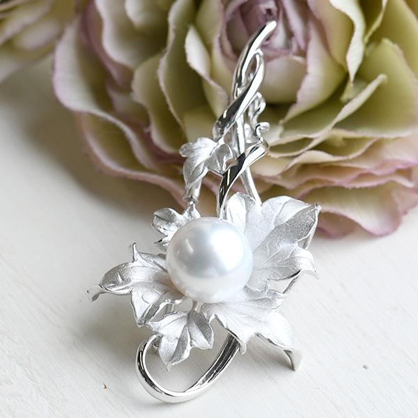 13mm 白蝶真珠 蔦と葉 ブローチペンダント エレガントなホワイト南洋真珠 クリッカー
