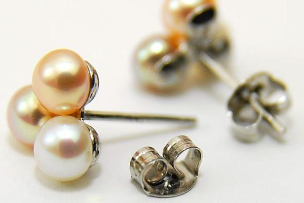 自然色多彩 3 粒 ♪ 可爱小成人女性三色淡水珍珠耳环
