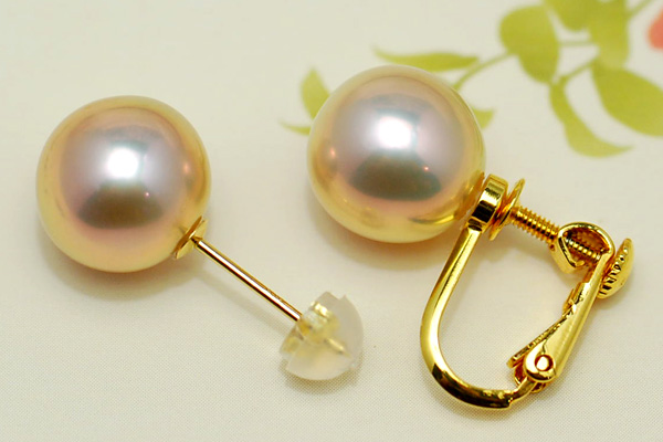 Superb large pearls K18YG grade 10 mm freshwater pearl earrings and Earring metallic, sparkle's eye-catching presence!