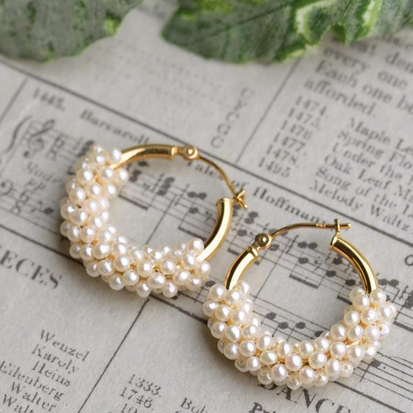 Seed Pearl K18yg Hoop Earrings An Elegant Shine In Elegance