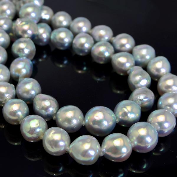10mm バロック アコヤ真珠 グラデーション ネックレス 目の覚めるような鮮やかナチュラルブルー 【特別企画 セット用ピアス/イヤリングプレゼント】