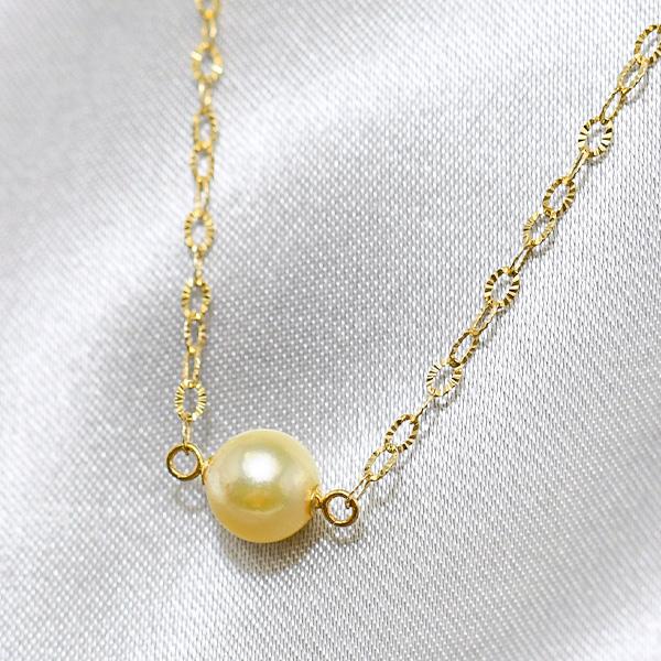 ゴールド アコヤ真珠 K10YG ペンダントネックレス 上質のナチュラルカラー和珠