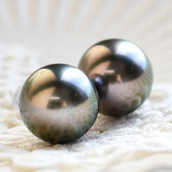 13mm 黒蝶真珠 ピアス/イヤリング てり良し 耳からこぼれる大珠!
