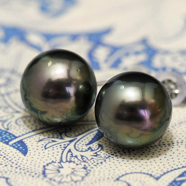10mm 黒蝶真珠 ピアス / イヤリング てり色美しい特級のラウンドパールが破格の訳あり価格で!