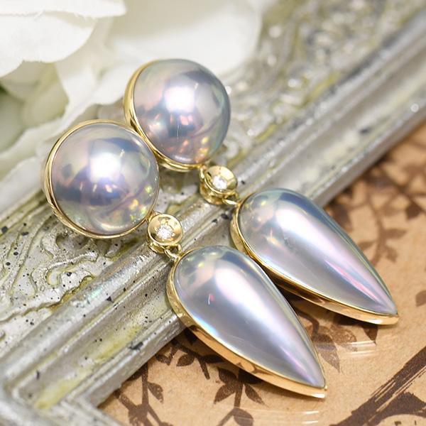 ブルーマベ真珠 ダイヤモンド K18 ピアス 内側からにじみ出るレインボーブルー 日本マベ真珠の最高峰 奄美大島産 NA09