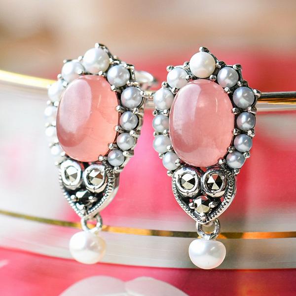 碌山 インカローズ シードパール ピアス/イヤリング うるうるのロードクロサイトを真珠で飾ったロマンチックなデザイン RP 204E0411-IR 204E0411-1-IR