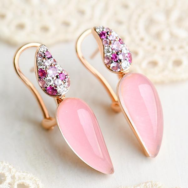 ピンククォーツ ピンクサファイア ダイヤモンド ピアス K18PG 女性らしさたっぷりうるうるピンク KA04 CON 池袋店オススメ商品
