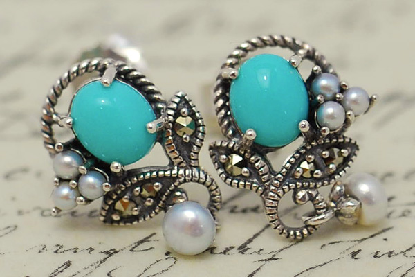 Rokuzan turquoise & thirdparlupias/earrings pretty chic and antique design