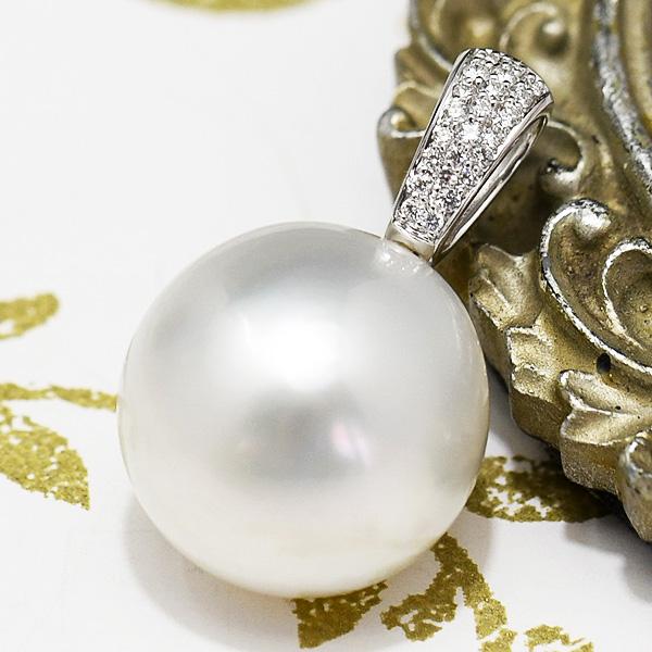 18mm 白蝶真珠 ダイヤモンド K18WG ペンダントトップ 超特大! 存在感抜群の希少な南洋パール
