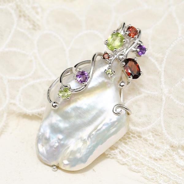 特大 メタリック バロック淡水真珠 天然石 ホワイトに浮かぶメタリックなシャボン玉カラーにうっとり 5%OFF 直営店 ペンダントトップ PP-2390 KA60