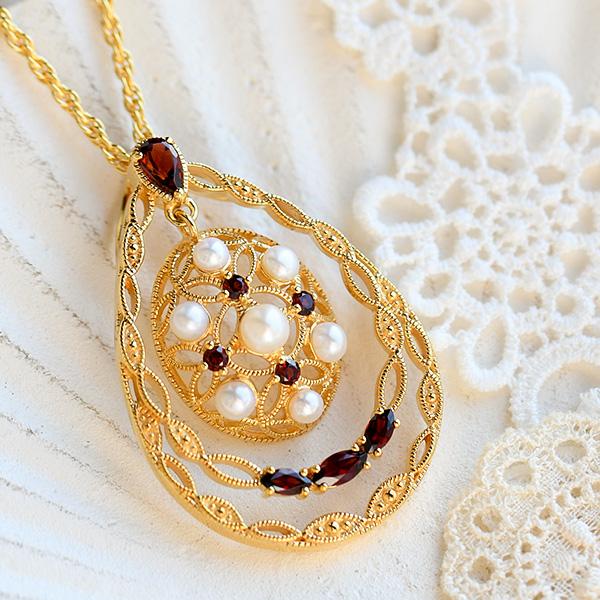 碌山 ガーネット ベビーパール ペンダントトップ 淡水真珠セットで使えるチェーンプレゼント! RP 201P0285