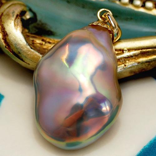 特大 メタリック バロック 淡水真珠 K14 ペンダントトップ 超特大の特級 てらてらと鮮やかに虹色浮かぶゴージャスな逸品!