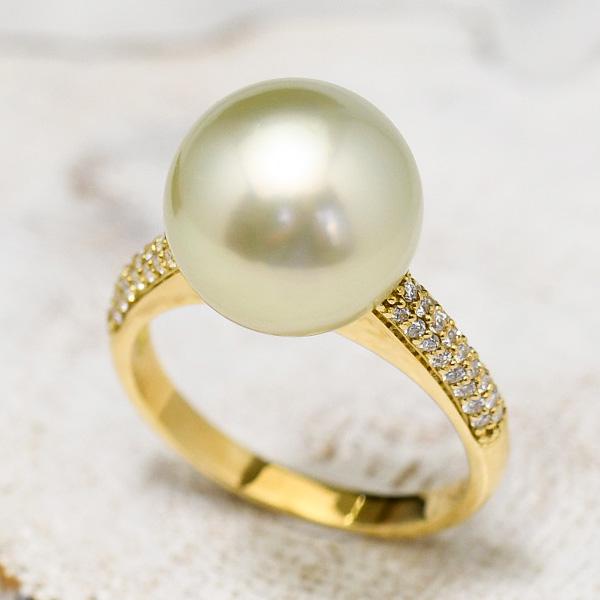 12mm ライトグリーン BIMA 白蝶真珠 K18YG ダイヤモンド リング 美しきBIMAパールの超レアカラー! 13.5号