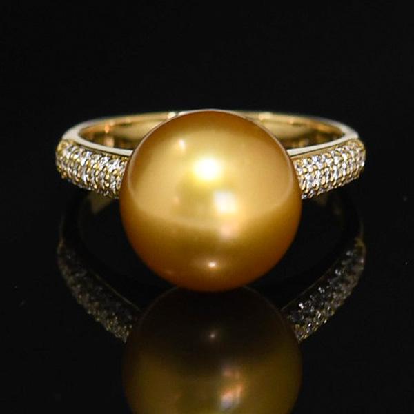 11mm ゴールド 白蝶真珠 K18YG ダイヤモンド リング 13号 リッチな金真珠に煌めくダイヤ NA18 KA56