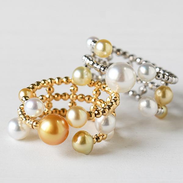 マルチ 白蝶真珠 K18 フリーサイズ リング 華やかなマルチカラー南洋真珠 ケシ ベビー 形状記憶