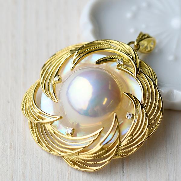 特級 マベ真珠&ダイヤモンド K18YG ペンダントトップ 世界に誇る極上の輝きを放つ奄美産 NA09
