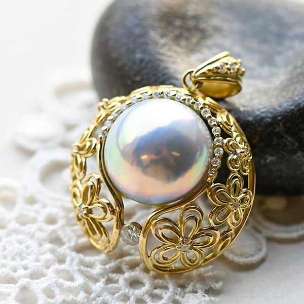 ブルーマベ真珠 ダイヤモンド K18YG ペンダントトップ 特級日本産マベ真珠の極上の輝き! 日本マベ真珠の最高峰 奄美大島産 NA09