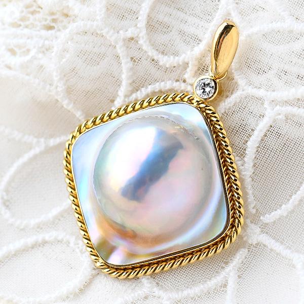 ブルー マベ真珠 K18YG ダイヤモンド ペンダントトップ 日本産マベ真珠の最高峰 奄美大島産 NA09 PMK2981-12430