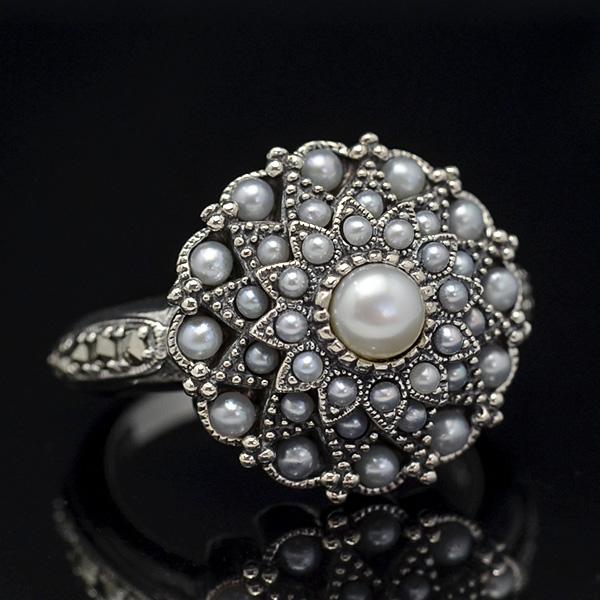 碌山 シードパール リング 真珠をちりばめたロマンチックなアンティークデザイン RP 204R0106-PL 【メール便不可】