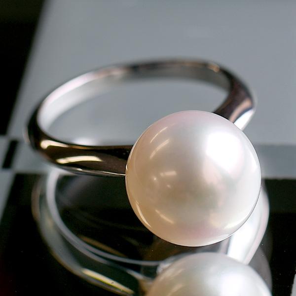 K18WG 11mm 特級 ホワイト 淡水真珠 ナイフエッジ リング アコヤにはない特大サイズの最高クラスパール