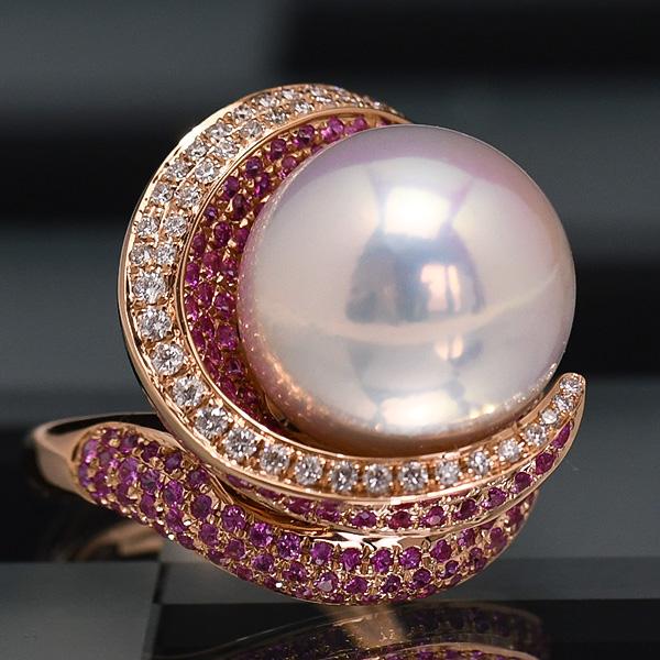 気高いオーラを放つ別格の特大パール ダイヤモンド ピンクサファイア K18 ピンクゴールド リング 16mm 淡水真珠 KA96