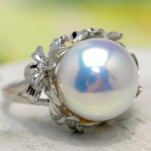 特級 14mm 淡水真珠 リング 強いてりを放つ迫力の極上超特大真珠!!