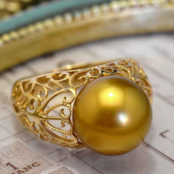 12mmゴールド黒蝶真珠K14YGリング 超激レアカラーの極上品! ゴールドを発色する黒蝶真珠の特級大珠の逸品です! KA10
