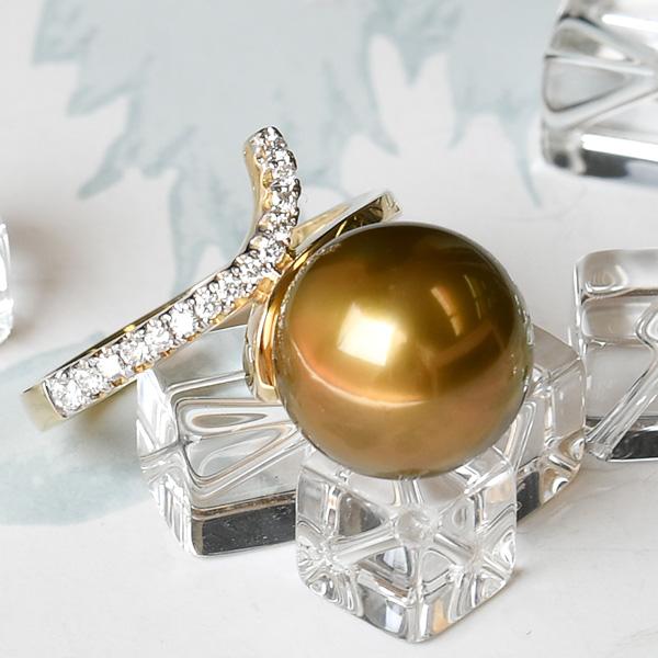 12mm レアカラー 黒蝶真珠 ダイヤモンド K18YG リング 華やかに輝く激レア ナチュラルカラー KA10