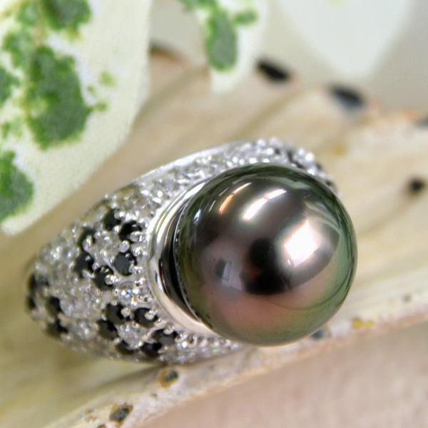 【グレードアップ特別版!】11mm 黒蝶真珠 リング 美しいてりのゴージャスな輝きとボリューム!【メール便不可】