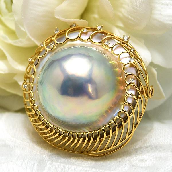 29mm ブルー マベ真珠 ダイヤモンド K18YG ブローチペンダント 極上に輝く特大マベ真珠!内側から輝く深みのあるレインボーブルー 日本マベ真珠の最高峰 奄美大島産 NA09