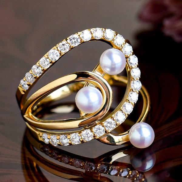 ベビーパール ダイヤモンド K18YG リング 11号 可憐なホワイト 凛ときらめく上質の日本産あこや真珠 NA11