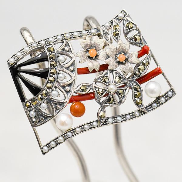 碌山 かんざし 緻密な銀細工が美しいアンティークデザインの簪 真珠と珊瑚と桜の和デザイン 現品限り1点のみ