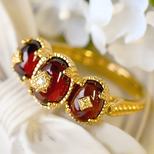碌山 ガーネット & ダイヤモンド リング 深紅とダイヤモンドの煌き RP 201R0174
