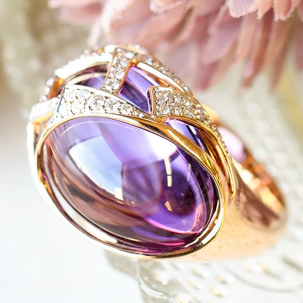 アメジスト & ダイヤモンド K18ゴールド リング 瑞々しく美しい特級アメジスト! 14.5号 KA04 CON 池袋店オススメ商品