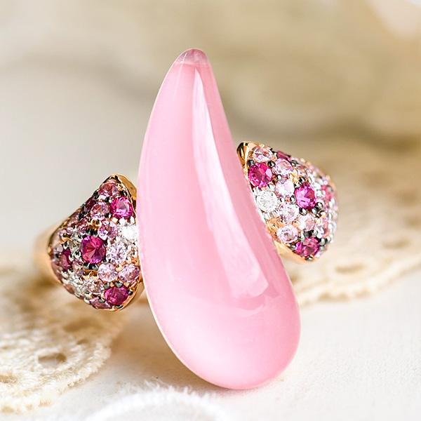 ピンククォーツ ピンクサファイア ダイヤモンド リング K18PG 女性らしさたっぷりうるうるピンク 13号 KA04 CON 池袋店オススメ商品