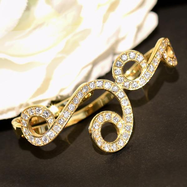 ダイヤモンド K18イエローゴールド ダブルリング 華やかに瞬くゴージャスなデザイン! 11号 CON 池袋店オススメ商品