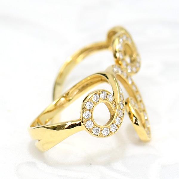 ダイヤモンド K18イエローゴールド ダブルリング 華やかに瞬くゴージャスなデザイン! 11号 CON