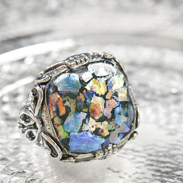 ローマングラス リング 古代ガラスの神秘的な輝き【メール便不可】