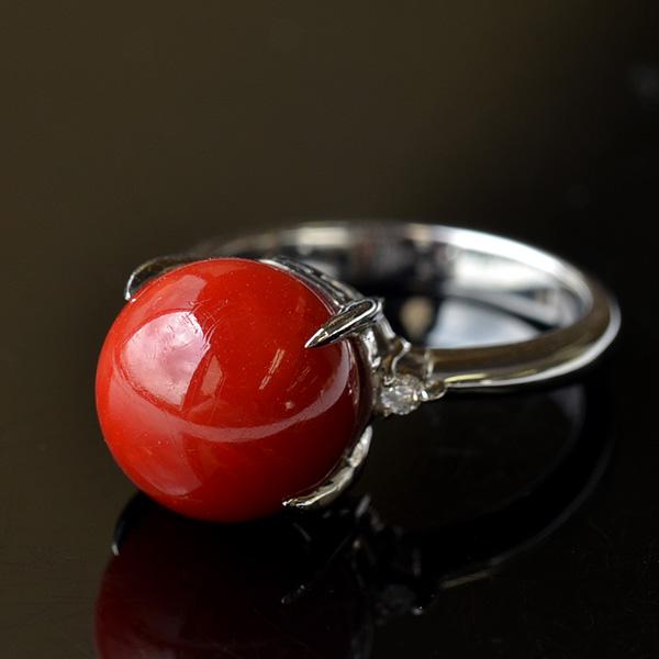 高知産11mm血赤珊瑚 ダイヤモンド プラチナリング 希少な大玉サイズです Pt900IyvYf6gb7