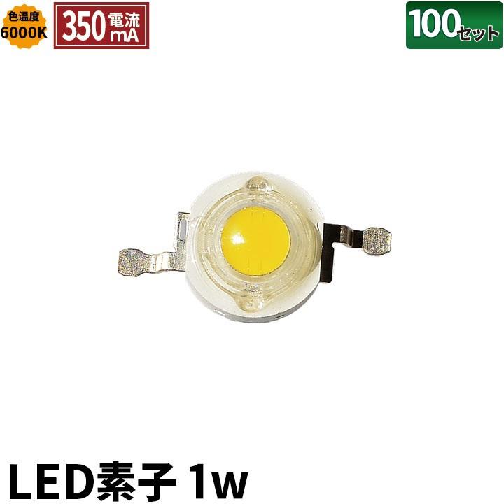 ●100個セット LED素子 1W 色温度6000K 電流 350mA LED-1C--100 ビームテック
