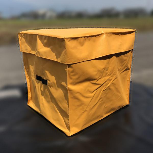 【あす楽】エステル帆布製 収納袋 毛布収納 毛布入れ ファスナー付き 完全防水 養生シート収納 かさばるシートなどの収納整理に トラックシート素材 80×70×70cm