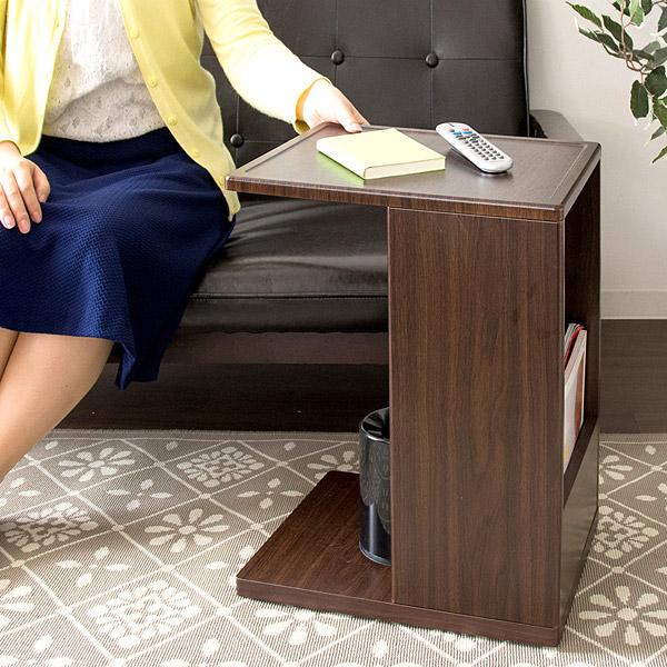 ソファサイドテーブル コの字型 木製 サイドテーブル テーブル サイドテーブル 木製 リビング収納 ワゴン サイドワゴン 小物収納 ベッドサイド ソファサイド コンセント