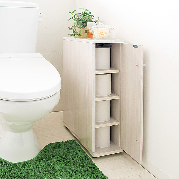 スリムトイレラック トイレ収納 棚 トイレットペーパー収納 サニタリーボックス シンプル 白 おしゃれ ミニマム ホワイト ブラウン ナチュラル