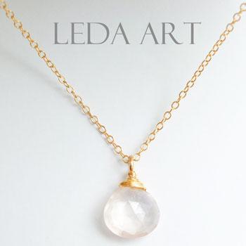 7f9c5c13a7092c Ladies j jewelry ladies necklace natural stones necklace Rose Quartz  necklace K14GF necklaces Goldfield