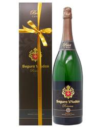 リボン掛けラッピング済み セグラヴューダス ブルート レゼルバ ダブルマグナムボトル 箱付 3000ml 正規 スパークリングワイン