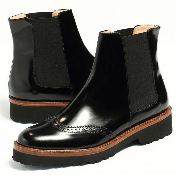 FABIO RUSCONI ファビオ ルスコーニ 革靴 レザー ウイングチップ サイドゴア ショートブーツ ヒール3.7 / ブラック【送料無料】 fa3298-black 200